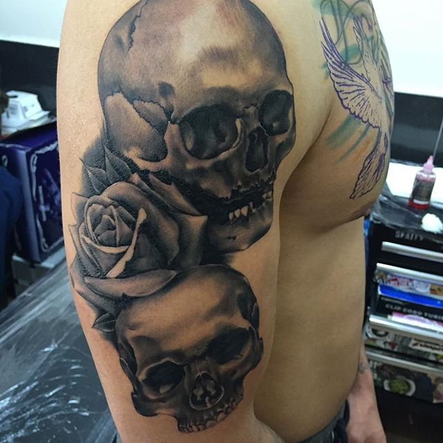 By @shaun_bltc a little scabby as 2 days old. Customer is back in getting his chest done today though.